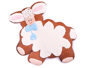 Holiday lamb Cookie over White