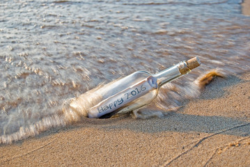 New year 2016 message in a bottle