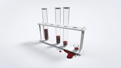 Broken test tube with blood