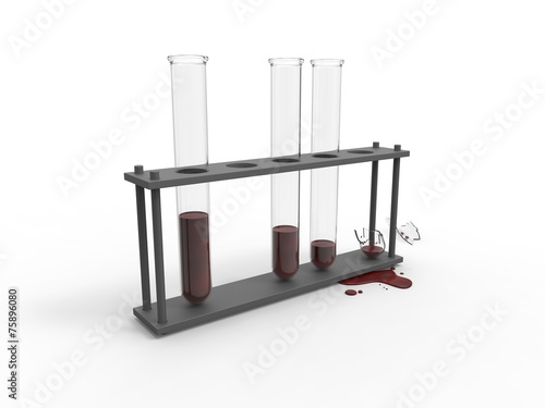 canvas print picture Broken test tube with blood