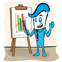 Executive mascot office presenting charts, graphs in flipchart