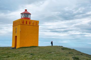 Orange lighthouse in Raudinupur