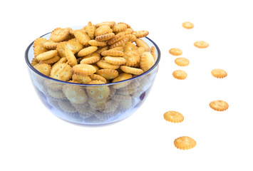 Small snack crackers in blue bowl