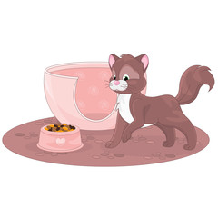 Cartoon cat with a bowl of cat food