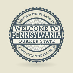 Grunge rubber stamp with text Welcome to Pennsylvania, USA