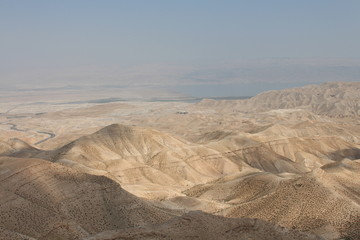 Judean Desert with view of Dead Sea and Jordan