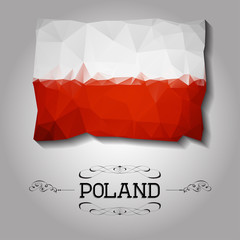Vector geometric polygonal Poland flag.