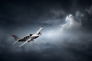 Aeroplane in thunderstorm