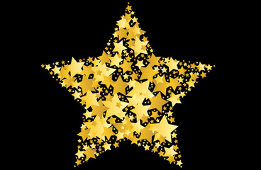 gold star vector illustration on black background