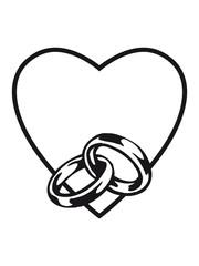 Heart love marriage rings