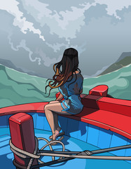 beautiful girl with long hair sitting in a boat, rear view