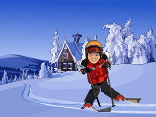 cartoon skier in the snowy mountains with a hut