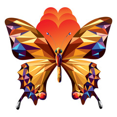 Polygonal butterfly icon Illustration