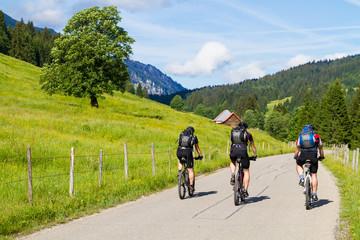 3 Mountainbiker in den Alpen