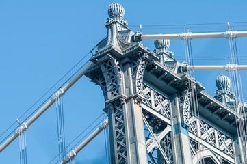 new york city manhattan bridge and skyline