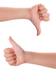 children's hands showing thumb up and down