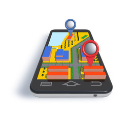 Mobile phone navigator with 3D dimensional map.