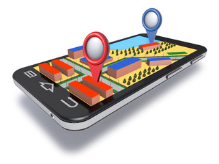 Mobile phone navigator with dimensional map.