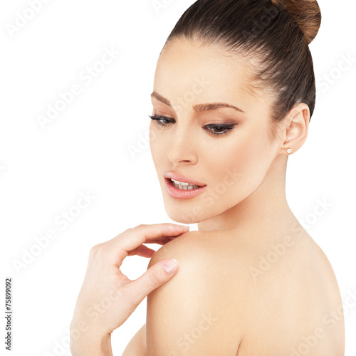 canvas print picture Beautiful face of young woman with clean skin