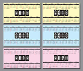 calendar grid 2015, 2016... 2020  for business card