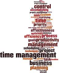 Time management word cloud concept. Vector illustration