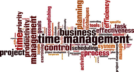 Time management word cloud concept. Vector illustration