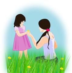 Girls in a Flower Meadow