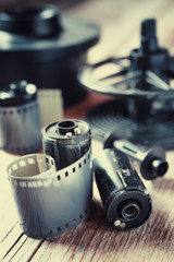 Old photo film rolls, cassette and photographic equipment. Vinta