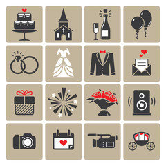Colored square wedding icons