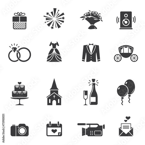 Black wedding icons - 75900051