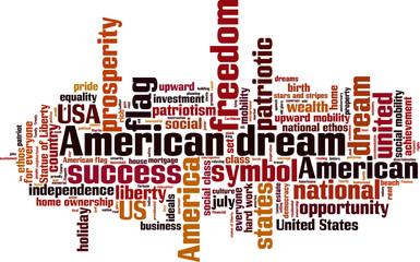 American dream word cloud concept. Vector illustration