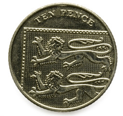 Ten pence British coin