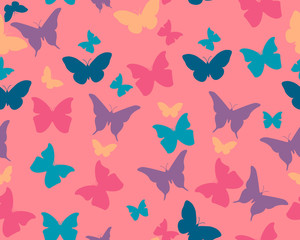 Butterfly background. Vector seamless pattern