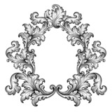 Vintage baroque frame scroll ornament vector