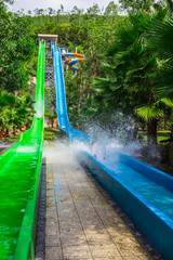 colorful waterslide in Vinpearl water park