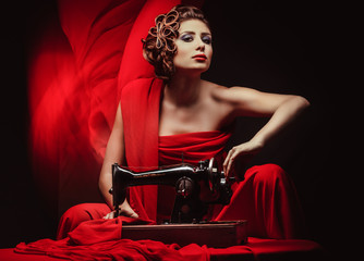 pinup woman with sewing machine