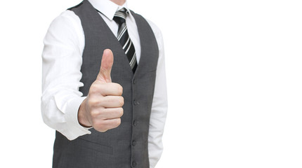 Businessman showing Ok sign - Stock Image