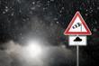Leinwanddruck Bild - Bad Weather - Caution - Risk of Storm and Heavy Rain