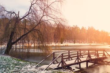 Bridge on forzen lake