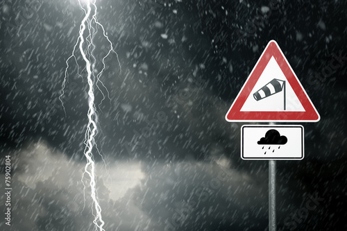 Plexiglas Onweer Bad Weather - Caution - Risk of Storm and Thunderstorms