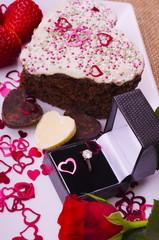 Valentine Diamond ring and Heart Shaped Cake