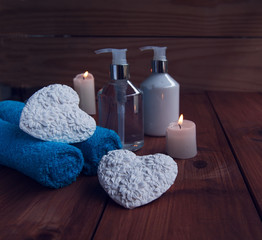 Bathroom and spa, towels, bath, bathroom hearts for Valentine's
