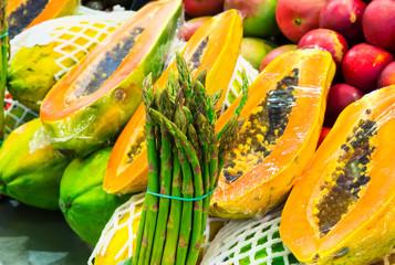 La Boqueria market with fruits in Barcelona, Spain