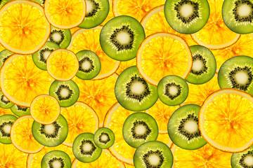 kiwi oranges mix colorful sliced fruits  background back lighted