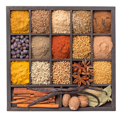 Various herbs and powder spices isolated