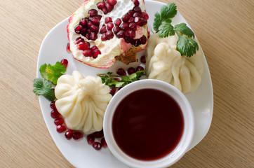 khinkali with pomegranate sauce