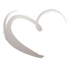 silver painted heart, violet, vector, brushstroke