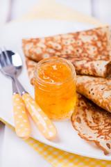 Orange jam with crepes