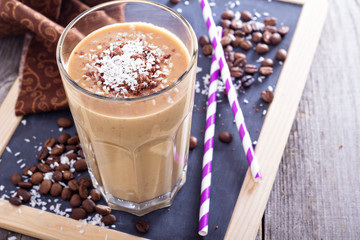 Coconut coffee chocolate smoothie