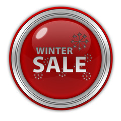 Winter sale circular icon on white background